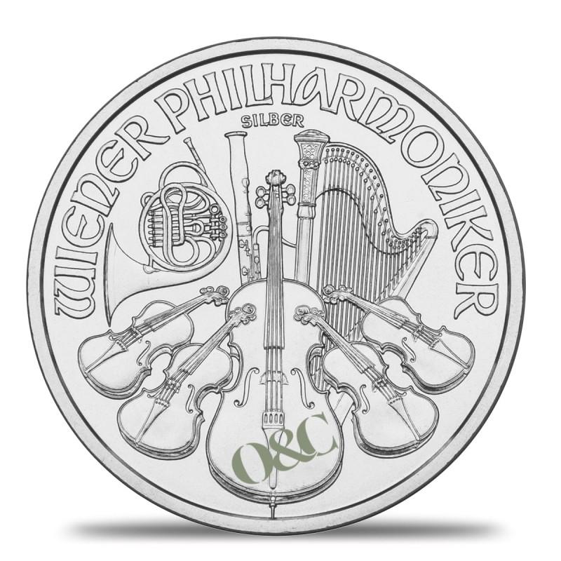 Pi ce philharmonique 1 once argent avec or change - Bureau de change paris bourse ...