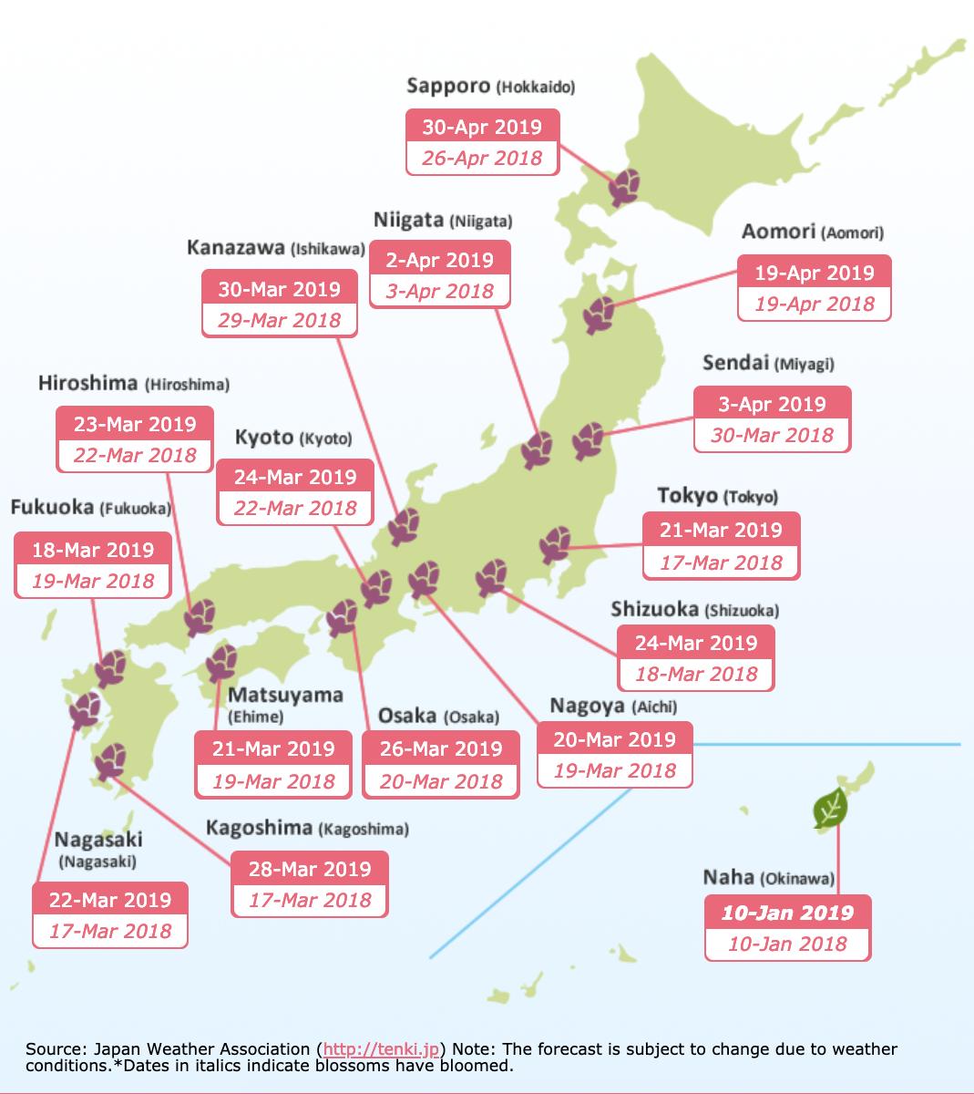 Calendrier de la floraison des cerisiers au Japon